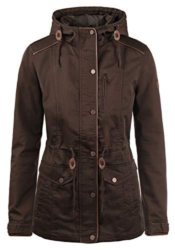 DESIRES Anja Damen Übergangsjacke Mantel Parka leichte Jacke mit Kapuze, Größe:XL, Farbe:Coffee Bean (5973)