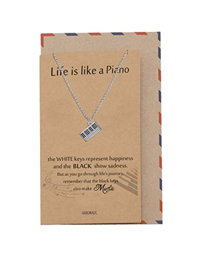 Quan Jewelry Harmonious Necklace for Teachers with a Piano Charm Pendant, comes with an Inspirational and Motivational Quote and Greeting Cards