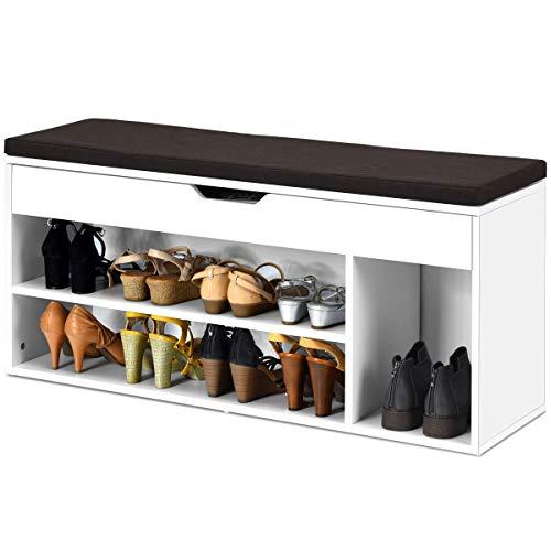 RELAX4LIFE Schuhbank, Schuhablage mit 3 Ablage & Stauraum, Schuhtruhe mit Sitzfläche, Schuhregal für niedrige & hohe Schuhe, Sitzbank für Wohnzimmer & Flur & Schlafzimmer, 104 x 30 x 48 cm (Weiß)