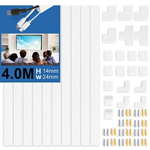 Canaleta para cables 10 piezas blanco autoadhesivo | Cubierta de cable de...