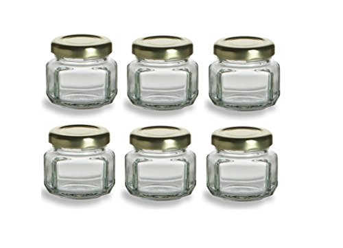 Nakpunar 6 pcs, 1.5 oz Mini Oval Hexagon Glass Jars for Jam, Honey, Wedding Favors, Shower Favors, Baby Foods, DIY Magnetic Spice Jars