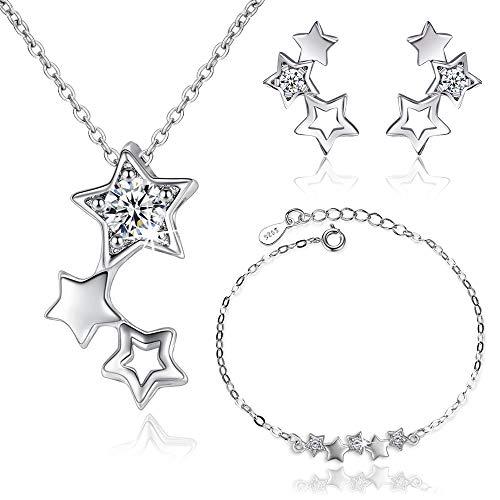 CRYSTALINA Conjunto de Joyas de Plata para Mujer, Juego de Collar Pulsera y Pendientes Estrellas de Plata con Circonitas, Regalos Originales para Mujer
