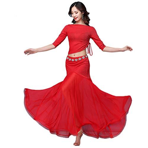 LaoZan Mujer 3 Piezas Traje de Danza del Vientre Indian Top Maxi Falda Vestido de Disfraz para Danza (Rojo, Asia XL)