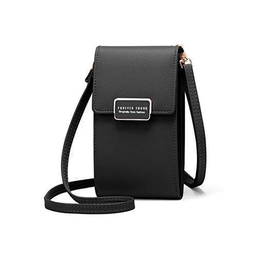 XGzhsa Mini bolso bandolera, bolso de hombro vertical, monedero de cuero para mujer, cartera para teléfono celular, mini bolso de hombro con correa ajustable y ranuras para tarjetas (Negro)