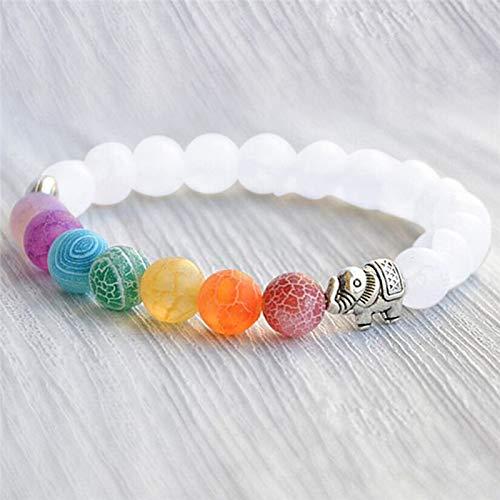 Pulsera de regalo, 7 colores con cuentas mate esmeriladas de elefante, pulsera de yoga y energía