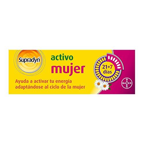 Supradyn Activo Mujer Multivitaminas con Vitaminas, Minerales, Coenzima Q10 y Manzanilla, una Ayuda de Energía y Vitalidad durante el Ciclo de la Mujer, Sin Gluten y Lactosa, 21 + 7 Comprimidos
