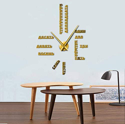 Knncch Numéros De Langue Russe sans Cadre Bricolage Grande Horloge Murale Langues Étrangères Mur Art Room Decor Temps Horloge Cadeau pour Professeur Étranger 27 Pouces