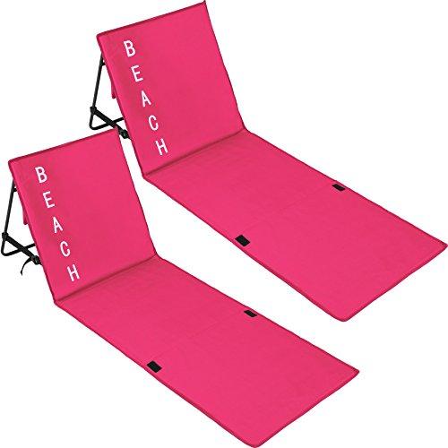 TecTake 800584 2er Set Gepolsterte Strandmatte mit Verstellbarer Rückenlehne und Praktischem Tragegurt - Diverse Farben - (Pink | Nr. 402989)