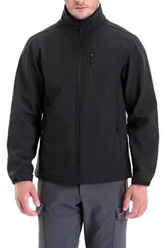 TRAILSIDE SUPPLY CO. Mens Softshell Fleece-Lined Jackets/Winter Outdoor Coats/Windbreaker/Medium-Weight Water-Repellent, Black, L