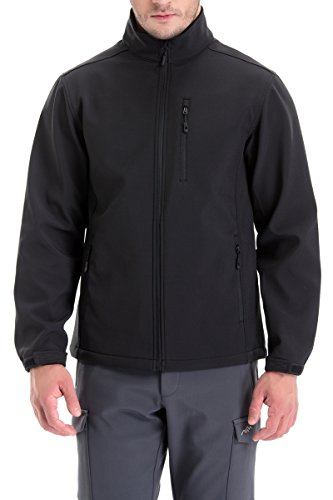 TRAILSIDE SUPPLY CO. Mens Softshell Fleece-Lined Jackets/Winter Outdoor Coats/Windbreaker/Medium-Weight Water-Repellent, Black, L