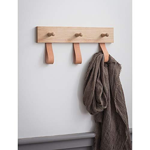 CKB LTD Tringle à 3 crochets en chêne brut et cuir pour couloir ou chambre à coucher, fixation murale, pour manteaux, chapeaux, drapés, écharpes, porte-clés – Taille M H 20 x l 40 x P 6,5 cm