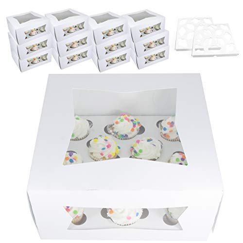 """Bakery Cupcake Boxes and Carrier With Window 12 Pack For Mini Cupcakes 9"""" x 9"""" x 4"""" Height 12 Slot Box Disposable Inserts Dozen Cup Cake Container Holder Bake Sale"""