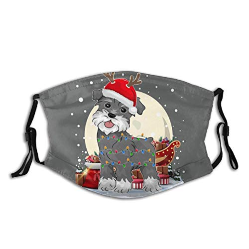 Funny Santa Reindeer Miniature Schnauzer Christmas Dog Print Cloth Face Mask Colorful for Men Women Cool Lightweight Breathable Comfortable Balaclava Face Mask Mouth Protection with 2 Filters
