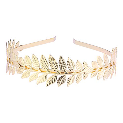 NUOLUX Bridal Hair Crown Roman Goddess Leaf Branch Dainty Head Dress Boho Alice Band (Gold)