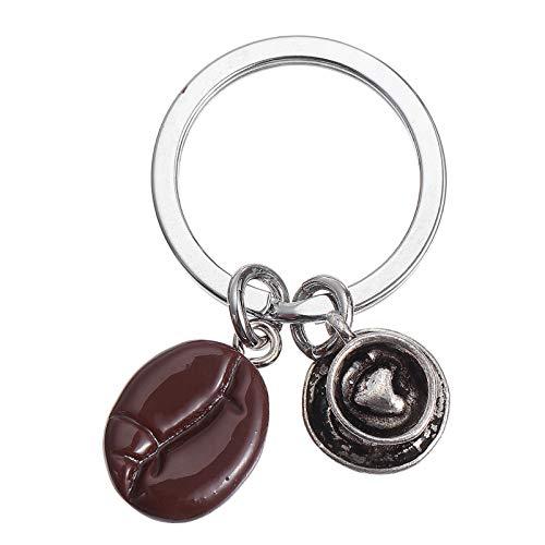 Amosfun Kaffeebohne Schlüsselanhänger Kaffeetasse Auto Schlüsselring Handtasche Dekorationen Charme Anhänger für Kinder Frauen Männer