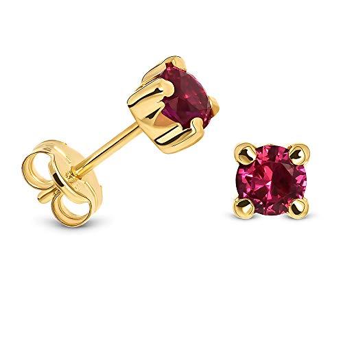 Miore Ohrring Damen runde Ohrstecker mit Edelstein/Geburtsstein Rubin in rot aus Gelbgold 9 Karat / 375 Gold, Ohrschmuck