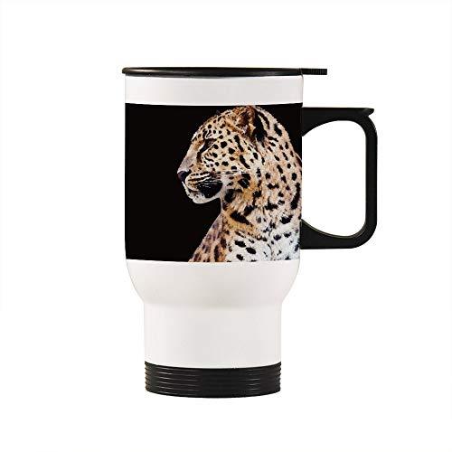 No Brands Thermobecher für unterwegs, abnehmbarer Kaffeebecher, Tier-Leoparden-Design, beheizter Autobecher mit Griff, Geschenk für Lehrer, Vater, Liebhaber, Zuhause, Büro, Schule, 400 ml