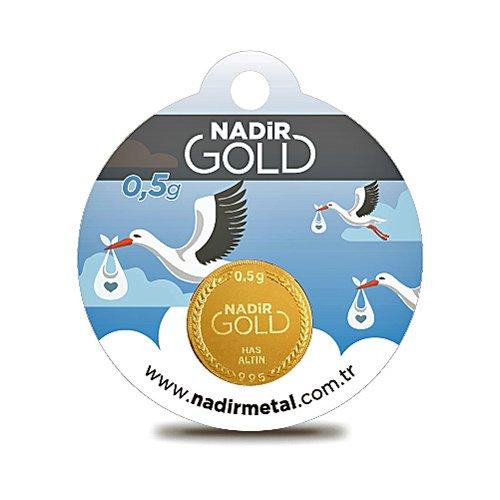 Nadir Rundbarren Goldbarren Goldgeschenke Geburt für Jungen, 0,5 Gramm Gold mit Geschenkbeutel