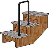 Negro mate T antideslizante escalera Pasamanos Pasamanos, interior y exterior Hierro forjado carril de la escalera Barandilla 0804 (Color : 4cm, Size : 75cm(29.5in))