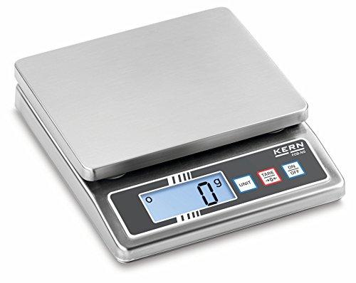 Tischwaage [Kern FOB 5K-3NS] Kompakte Edelstahlwaagen mit Staub- und Spritzwasserschutz IP65, Wägebereich [Max]: 5 kg, Ablesbarkeit [d]: 1 g, Reproduzierbarkeit: 1 g, Linearität: 2 g