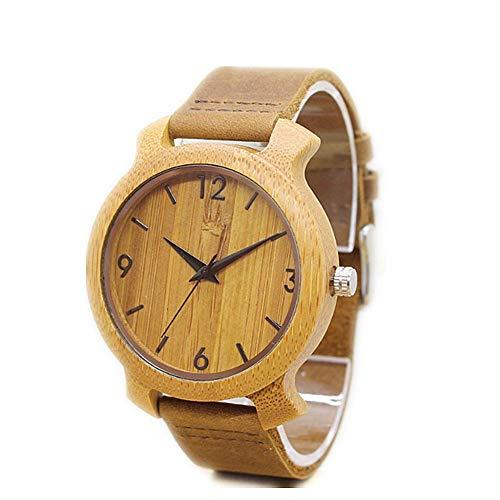 Molinter Reloj de madera de bambú, analógico, cuarzo, natural, con correa de piel, regalo para hombre y mujer