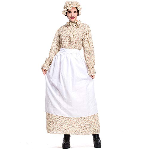 ZQ Erwachsene Halloween Vintage Wolf Oma Kostüm Kleid Idyllische Bauernhof Schürze Maid Cosplay Baumwolle Kostüm Großmutter Cosplay Kostüm,XXL