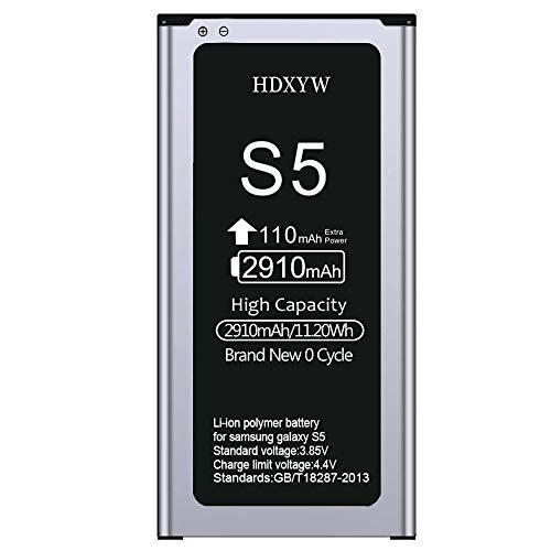 HDXYW Akku für Samsung Galaxy S5 Verbesserte Ersatz Handy-Akku für 2910 mAh-Ohne NFC Ersatz Hochleistungsakku für Samsung S5