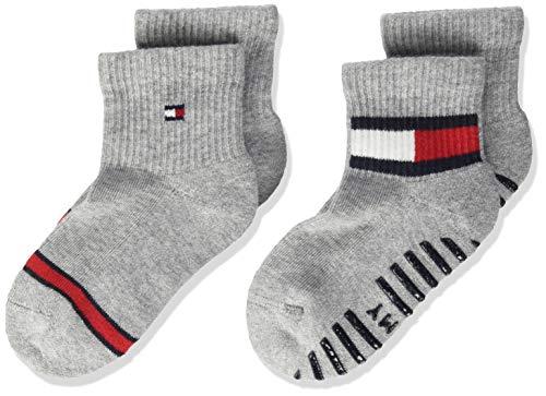 Tommy Hilfiger Unisex-Baby Flag (2 Pack) Socks, Light Grey Melange, 23/26