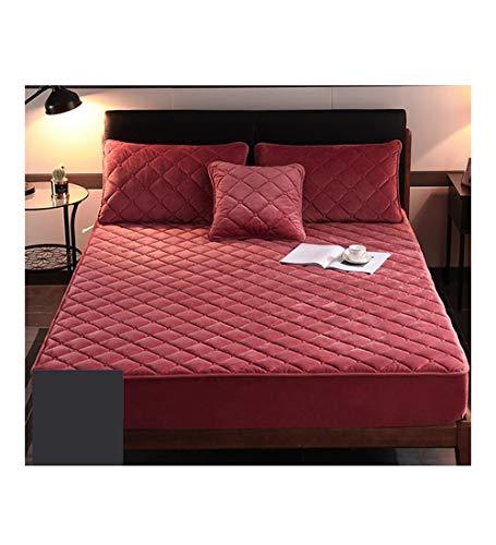 XZ15 Colchas de un Solo Espesado Mantenga la Cubierta de colchón Caliente Hojas de Color de Frijol (Size : 90X190CM/5-15CM)
