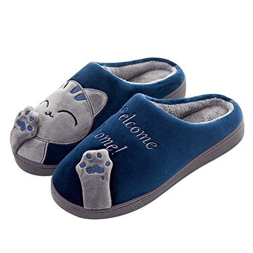 SAGUARO Otoño Invierno Zapatillas Interior Casa Caliente Slippers Suave Algodón Zapatilla Mujer Hombres Animados Pareja Zapatos Calzado, 41/42 EU=42/43 CN Azul