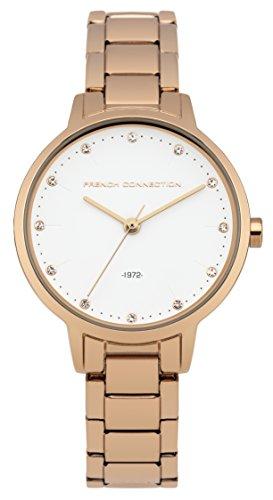 French Connection-Reloj de Cuarzo para Mujer con Esfera analógica Blanca y Pulsera de Acero Inoxidable Oro Rosa fc1281rgm