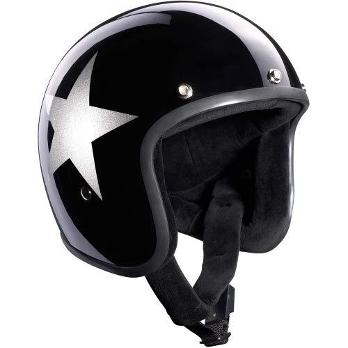 Motorradbekleidung Mädl Bandit Jethelm Jet Star schwarz ohne ECE mit silbernem Stern inkl. Helmschirm, S 55/56
