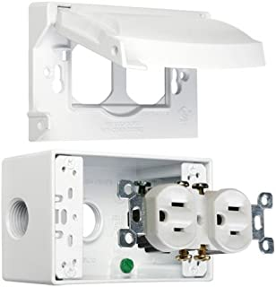 Hubbell-Bell MK1250WH Weatherproof Kit with Single Gang Box, Horizontal Cover and Duplex Receptacle, White