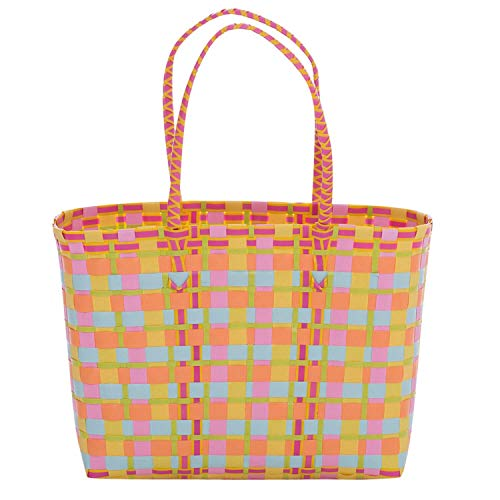 Overbeck and Friends Strandtasche Einkaufstasche Zara orange/gelb/pink/rosa - Shopper Tragtasche Einkaufskorb Kunststoff geflochten stabil robust wasserabweisend