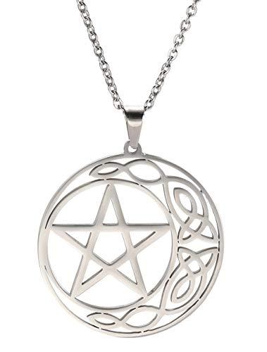 VASSAGO Stainless Steel Celtic Irish Knot Pentacle Necklace Pentagram Circle Crescent Pendant Necklaces for Men Women Teens (Silver)