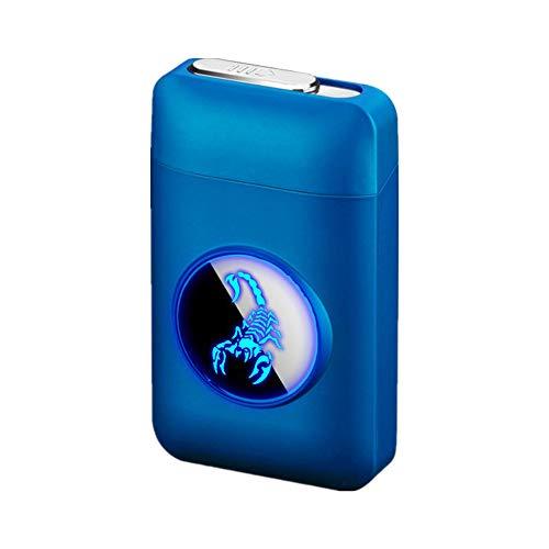 Zigarettenetui mit Feuerzeug, LED Grafik-Zigaretten-Etui, 2-in-1 Portable Elektronisches Lighter Flammenlose Aufladbar Zigarettenschachtel, Elegante Entwurf Feuerzeug Aufladbar Scorpion - Blau