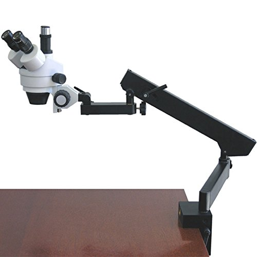 AmScope SM-6TZ Professional Trinocular Stereo Zoom Microscope, WH10x Eyepieces, 3.5X-90X Magnification, 0.7X-4.5X Zoom Objective, Ambient Lighting, Clamping Articulating Arm Stand, Includes 0.5X and 2.0X Barlow Lenses