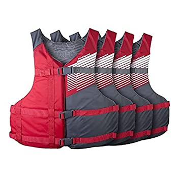 Stohlquist Fit Adult PFD Life Vest - Red + Gray Universal Unisex Size Fitting - Easily Adjustable for Full Mobility Lightweight Buoyancy Foam PVC Free Coast Guard Approved - Pack of 4 QF1560610U