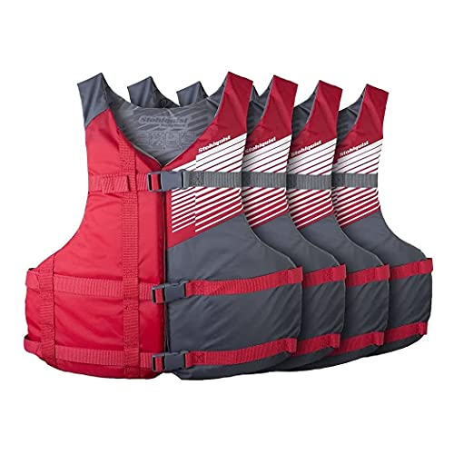 Stohlquist Fit Adult PFD Life Vest - Red + Gray, Universal Unisex Size Fitting - Easily Adjustable for Full Mobility, Lightweight Buoyancy Foam, PVC Free, Coast Guard Approved - Pack of 4