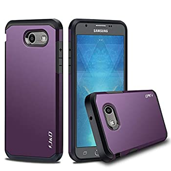 J&D Case Compatible for Samsung Galaxy J3 Emerge/Galaxy J3 2017 / Galaxy J3 Prime Case Heavy Duty Dual Layer Hybrid Shockproof Protective Rugged Bumper Case for Galaxy J3 Emerge Case Purple