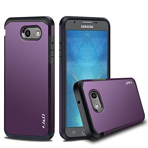 J&D Case Compatible for Samsung Galaxy J3 Emerge/Galaxy J3 2017 / Galaxy J3 Prime Case, Heavy Duty Dual Layer Hybrid Shockproof Protective Rugged Bumper Case for Galaxy J3 Emerge Case, Purple