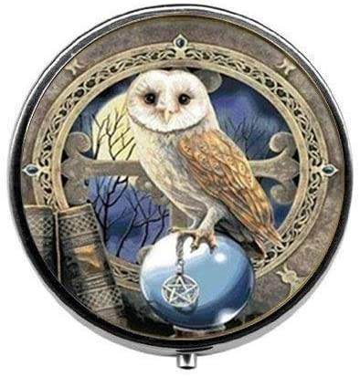 Steampunk Celtic Wicca Owl Pill Box,Candy Box Vintage Charm Jewelry Glass Photo Jewelry