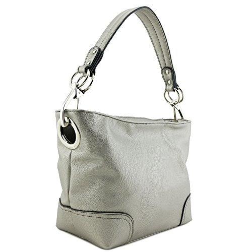"***Dark Silver is a metallic grey, not a matte grey 13""(W) x 8.5""(H) x 5""(D) Zipper closure Detachable strap with 8.5"" drop Faux leather & silver tone hardware 2 zipper pockets & 2 open pockets inside"