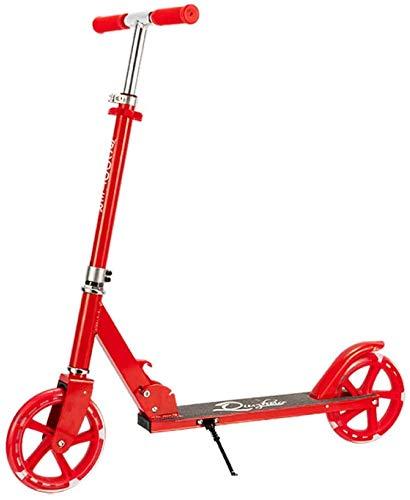 JSDKLO Ruedas grandes 3-6-9 años de edad de dos ruedas plegable Kick Scooter de elevación plegable todo aluminio micro scooter rojo