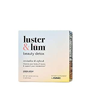 Luster & Lum by GNC Beauty Detox, Cleanses Body of Toxins, Supports Metabolism & Digestion, Green Apple, 14 Servings