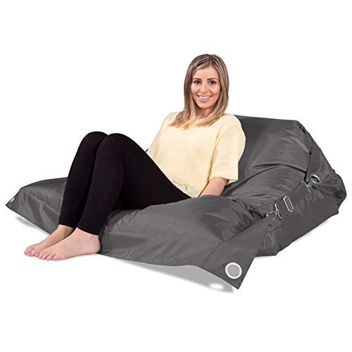 Big Bertha Original, Puff Gigante Cama XXL 'con Correas', Grafito