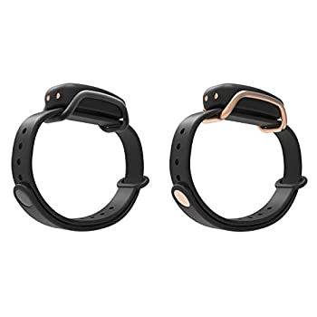 BOND TOUCH Vibrating Waterproof Bluetooth Long Distance Connection Bracelet with 4 Day Battery Life for iOS and Android Devices Black and Gold  2 Pack
