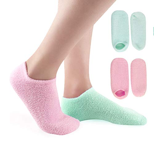 Feuchtigkeitsspendende Gel Socken, E-More Feuchtigkeitssocken Soften Feet Skin mit ätherisches Öl Behandlung trockenen Haut für Füße Peeling, 2 Paare Moisturizing Socks Damen, Rosa & Grün