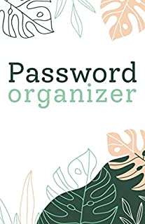 Password Organizer Botanical, Green And Peach Oriental Palm Leaves For Woman | Password and Username Keeper, Internet Webs...