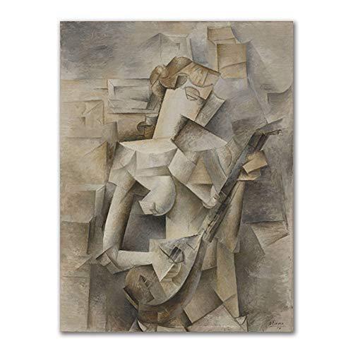 WDQTDW Leinwanddruck Abstrakte Violine Und Gitarre Poster Und Drucke Cafe Bar Wand Kunst Leinwand Gemälde Picassos Kubismus Wall Bilder Für Dekoration